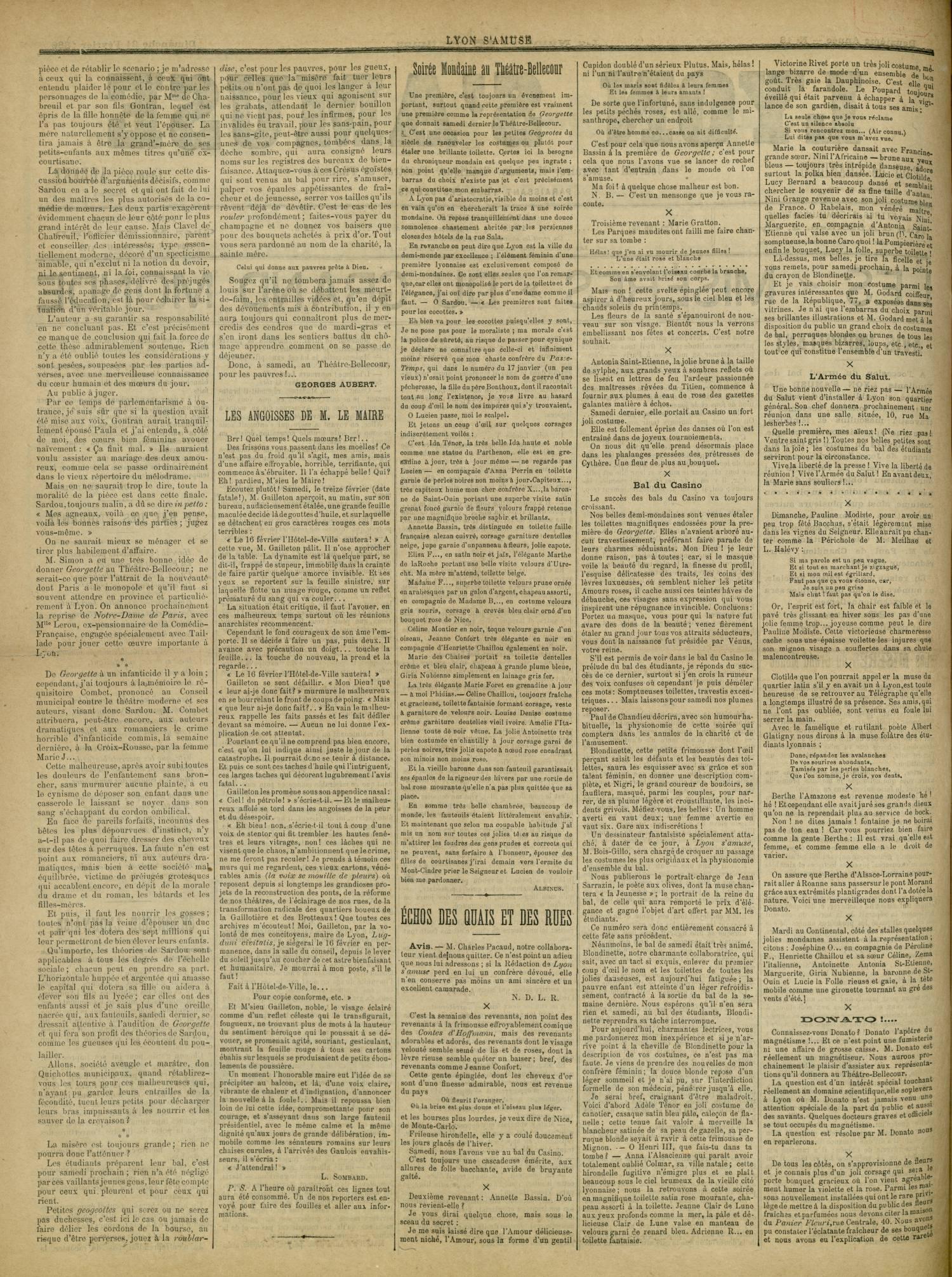 Contenu textuel de l'image : Soirée Mondaine au Théàtre-Bellecour