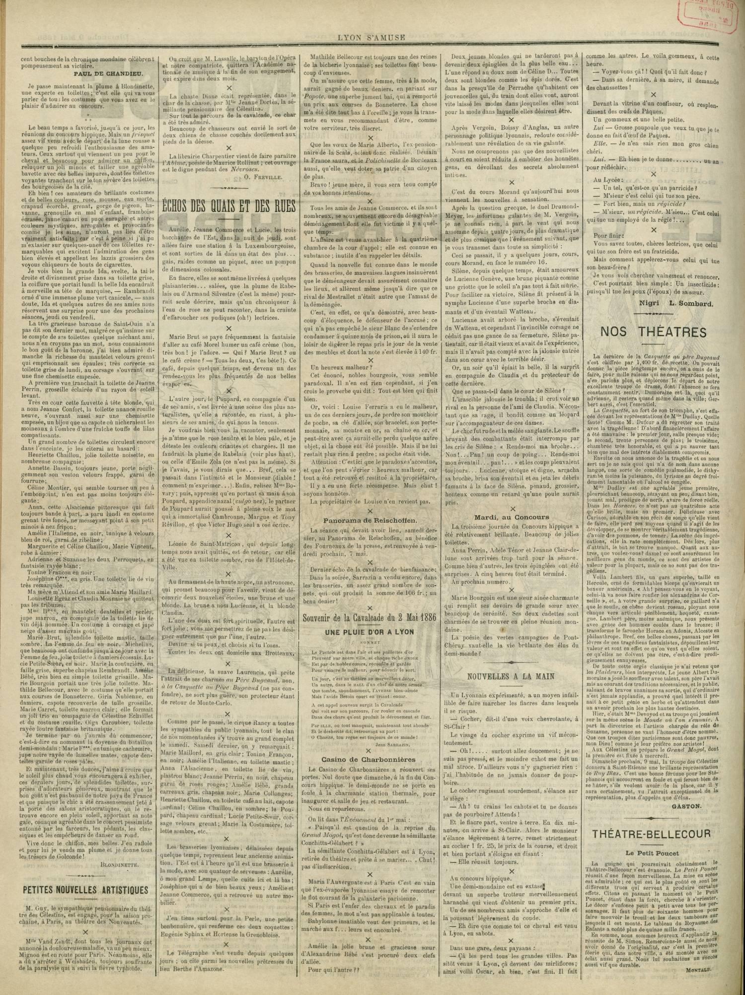 Contenu textuel de l'image : cent bouches de la chronique mondaine célèbren t pompeusement sa victoire.