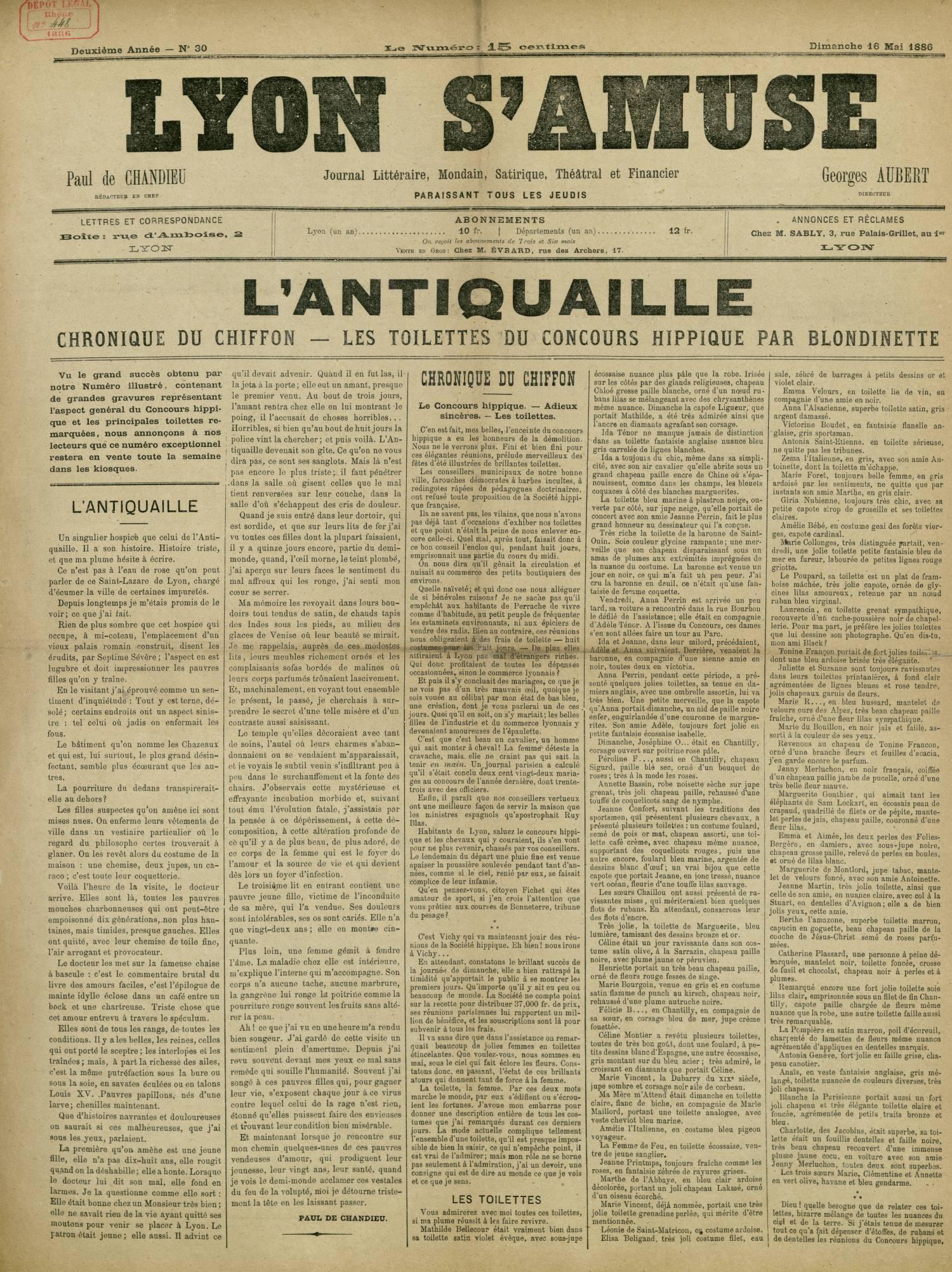 Contenu textuel de l'image : CHRONIQUE DU CHIFFON