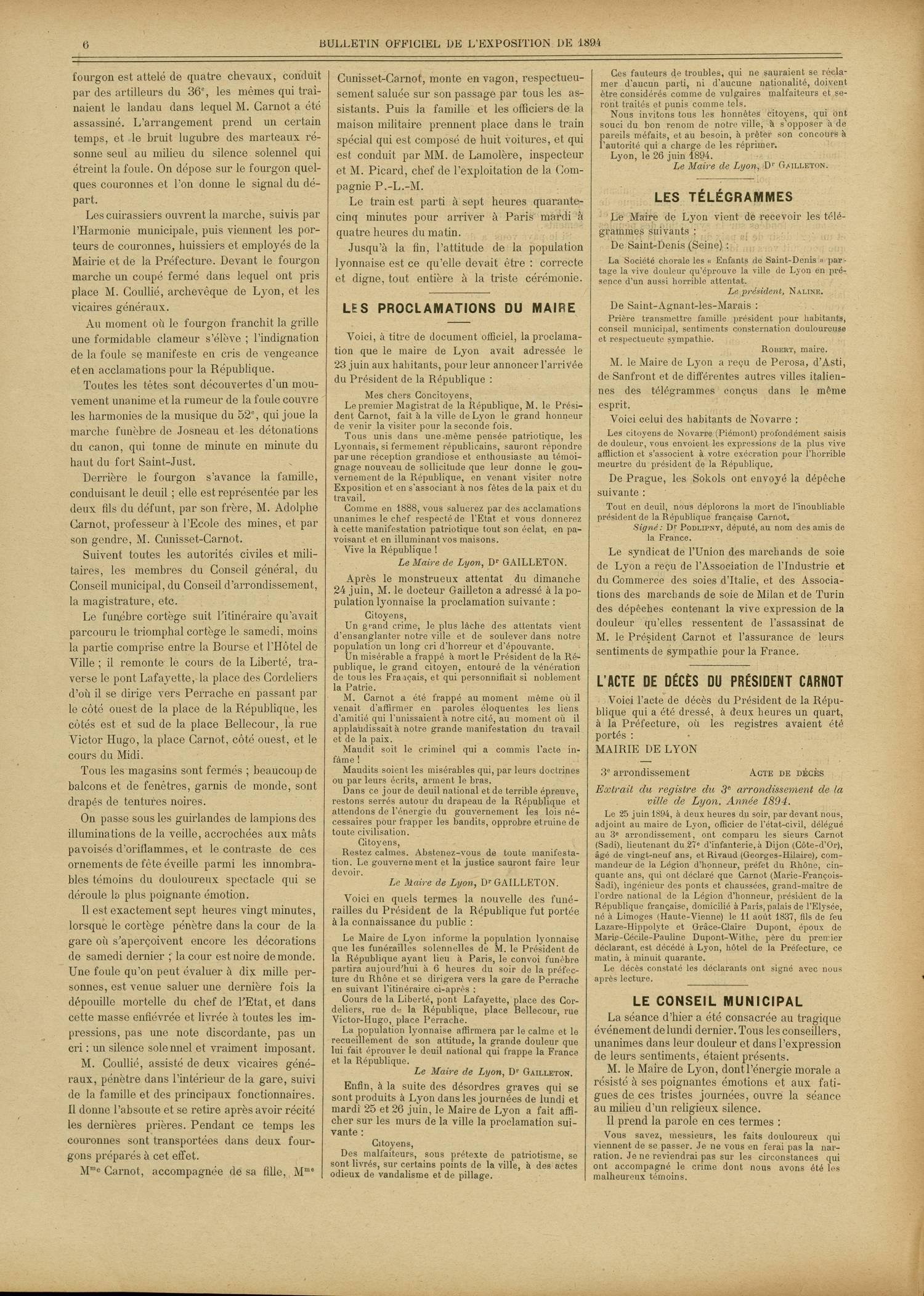 Contenu textuel de l'image : L'ACTE DE DÉCÈS DU PRÉSIDENT CARNOT