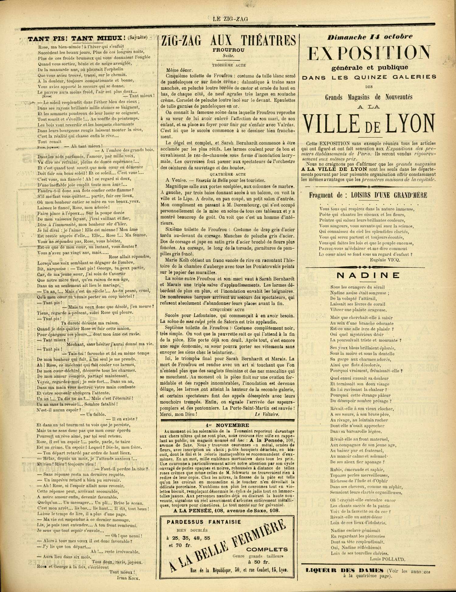 Contenu textuel de l'image : ZIGZAG AUX THÉÂTRES