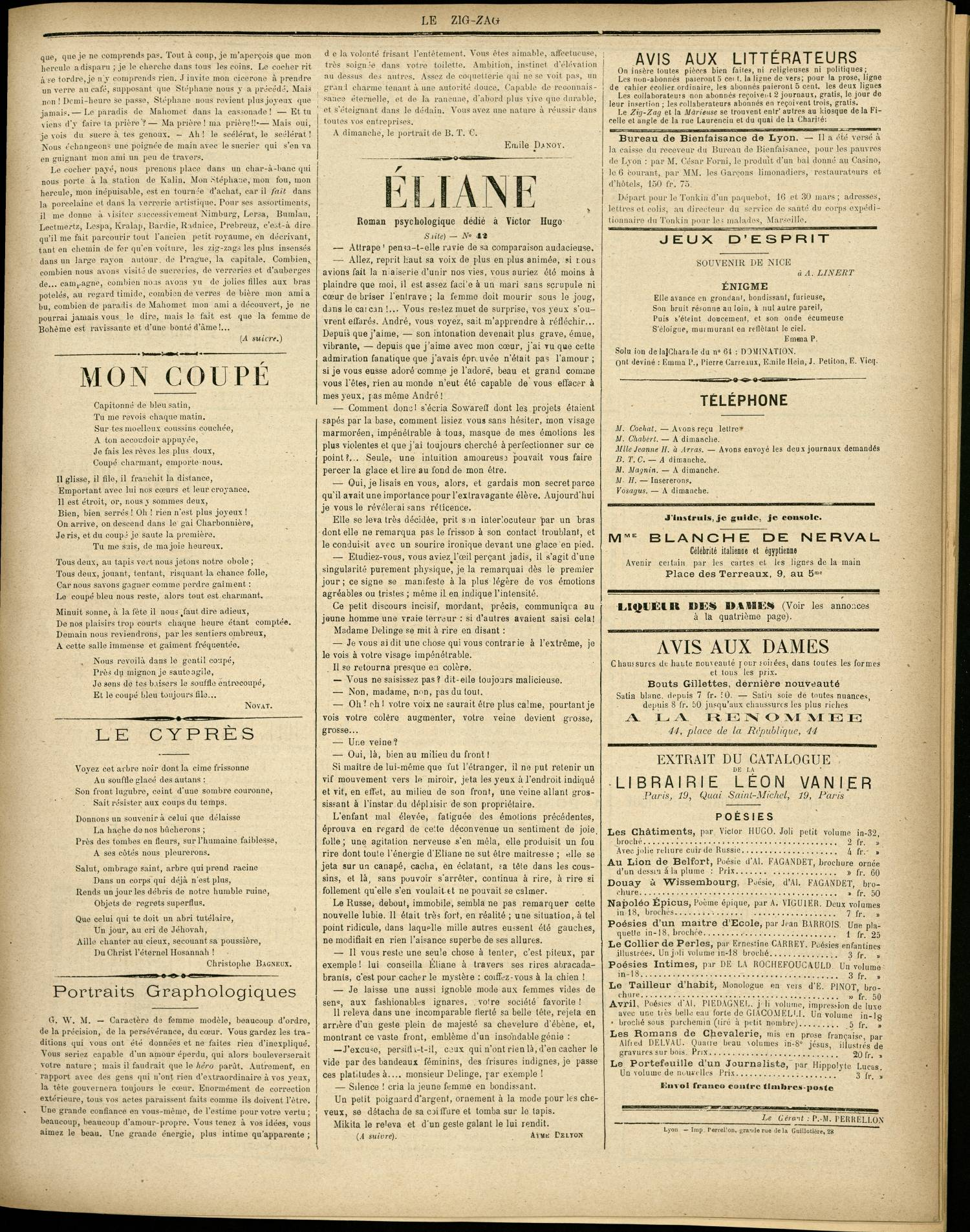 Contenu textuel de l'image : Roman psychologique dédié à Victor Hugo
