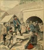 Percement du Simplon; entrée du tunnel pendant la grève