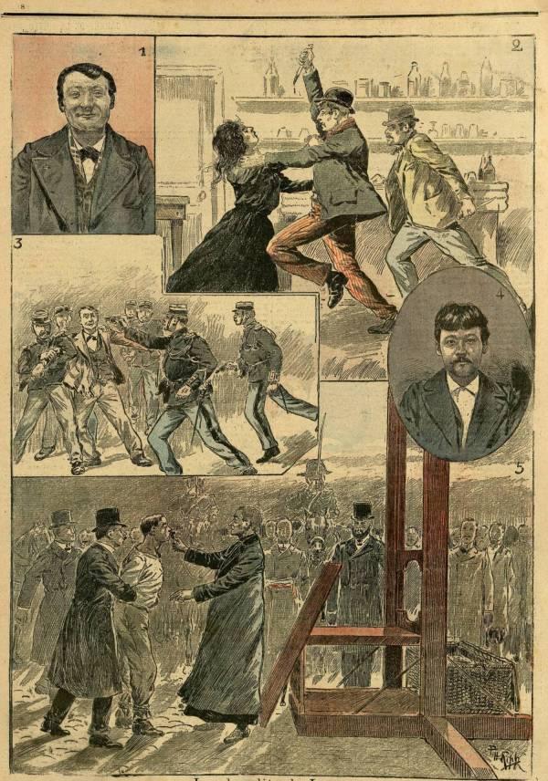 Les bandits de Lyon: portrait de Nougier, l'assassinat de Mme Foucherand, arrestation de Gaumet à Saint-Etienne, portrait de Gaumet, l'exécution à Lyon.
