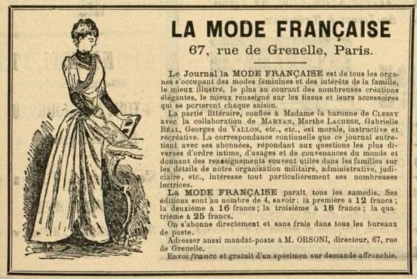 La mode française [publicité]