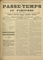 LE PASSE-TEMPS ET LE PARTERRE RÉUNIS : n°15, pp. 1